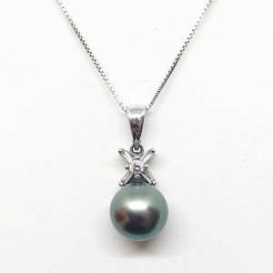 14k White Gold Diamond & Black Pearl Necklace